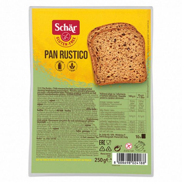 """Хлеб темный без глютена с семенами льна """"Pan Rustico"""" Dr. Schar 250 г"""